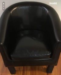 Black leather padded sofa chair North Vancouver, V7L 1P4