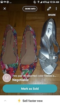 pair of pink, white and green floral pointed-toe flats screenshot
