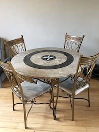 Granite dinning table set with 4 chairs