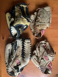 3 Baseball Gloves LH.