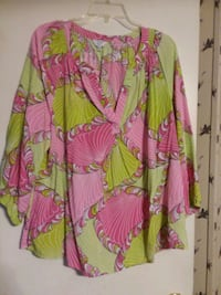 green and pink floral long sleeve dress Joanna, 29351