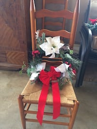 green, white, and red floral wreath