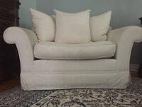 White fabric sofa chair with throw pillow and sofa Westmount, H3Z 1P2