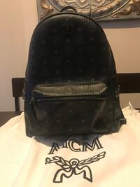 Black leather mcm backpack