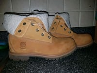 pair of brown Timberland work boots Langley Township, V4W 3A2