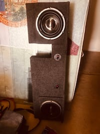 Black and gray subwoofer speaker to fit under back seat of f150