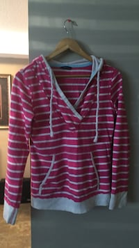 women's pink and white striped pullover hoodie Saskatoon, S7H 2C9