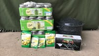Ball canning jars 28 quart, 12 pint,Canning 5 piece tool set,4 packs of pickle mix, and canning pot.