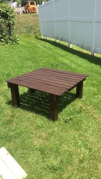 "Deck or patio table 40x40 square 19"" tall. Have matching side tables for an additional $20. Can make and stain in other colors. Berwick, 03901"