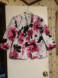 white, red, and black floral dress shirt Joanna, 29351
