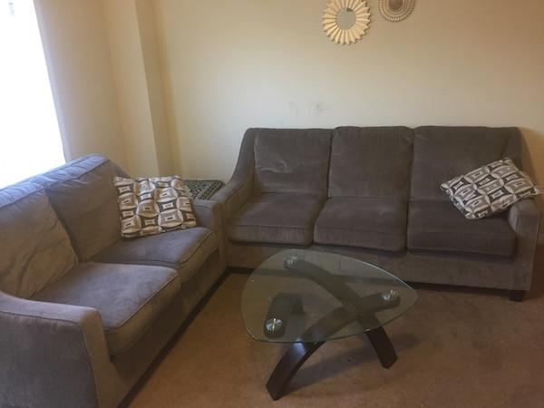 Two sofas with table