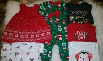 Baby Gs Christmas outfit and sleepers