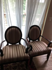 Two brown wooden framed beige padded armchairs Laurel, 20708