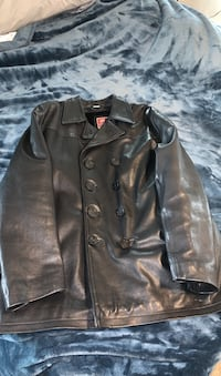 Men's Black Leather Peacoat Stephenson, 22656
