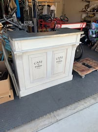 Antique counter with galvanized top