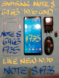 SAMSUNG NOTE8 64B+case+charger..FIRM$735 OrTrade Pointe-Claire, H9R