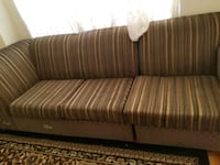 brown and beige striped fabric sofa