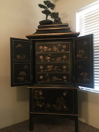 PRICE REDUCED - THIS WEEKEND ONLY - Chinese hand painted Armoire and 2 Night stands. The set Originally cost me $4,700. The armoire was $3,000 and the nightstands were $850 each. $1,200 FIRM. It is in perfect condition... Henderson, 89014