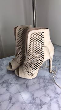 pair of white leather peep-toe heeled sandals Rockville, 20850
