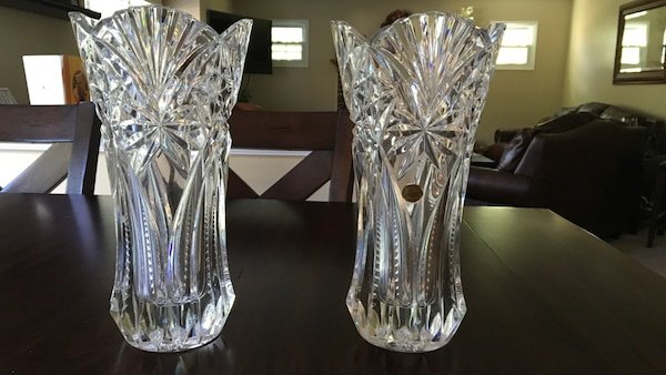 Cristal Darques France.Used Two 2 Cristal D Arques France Lead Crystal 12 Vases For