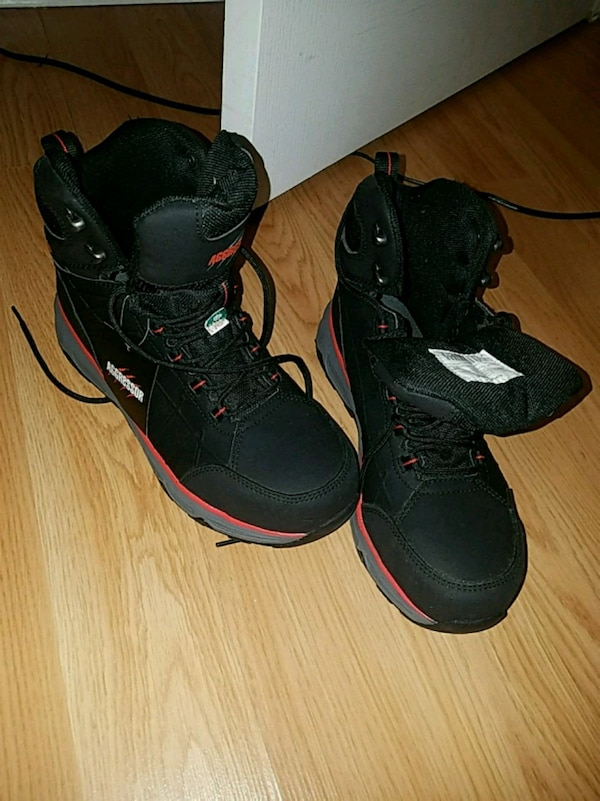 pair of black-and-red steeltoe shoe for men