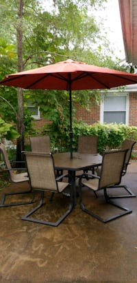 Tempered glass table with 6 chairs and umbrella Florissant, 63033