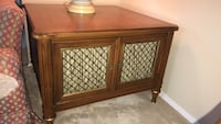 Antique Henredon Wooden Fabric and Metal Side Table Cabinet San Angelo, 76904