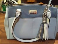 blue and gray leather tote bag Calgary, T3B 2M9
