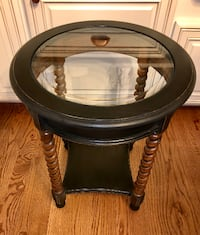 Barley twist black and brown oak glass top accent table Derwood