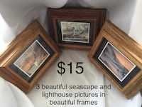 3 Beautiful Seascape and Lighthouse pictures in Beautiful frames Chesapeake, 23320