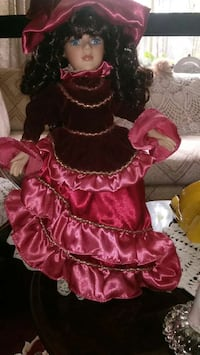 toddler's red and brown dress