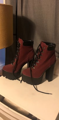 Pair of red leather heeled booties Arlington, 22209