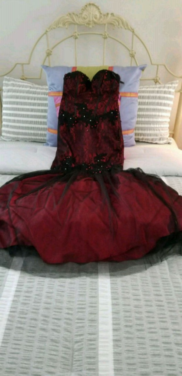 Red and black, custom made by hand long gown, stra
