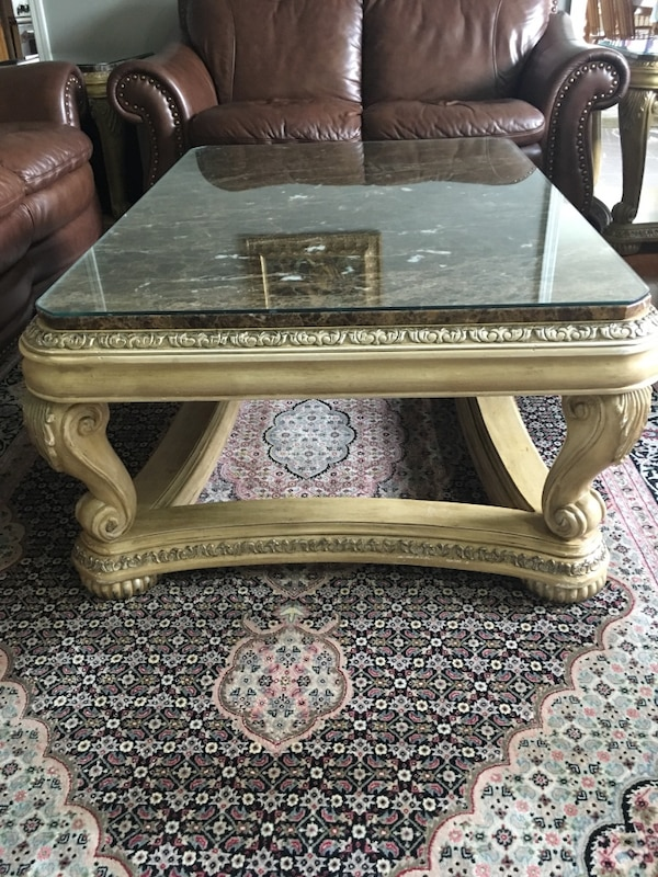 Used Solid Wood Coffee Table And End Units With Marble Tops For