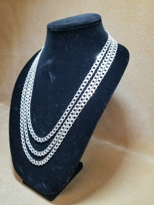 Cuban Curb Link Chain Diamond Cut Necklace .925 Sterling Silver 7mm 3