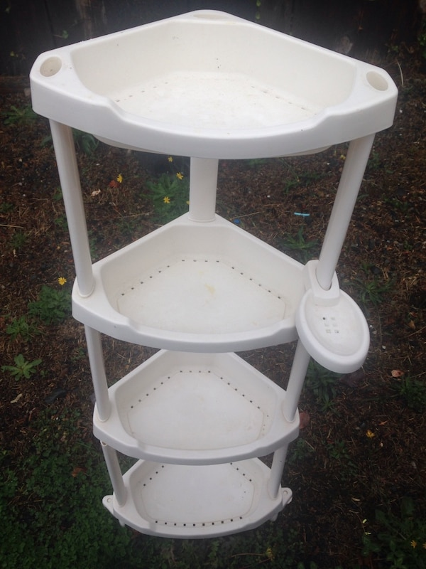 white plastic 3-tier rack