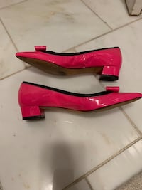 Pair of pink leather peep toe heels 7 1/2 White Plains, 10607