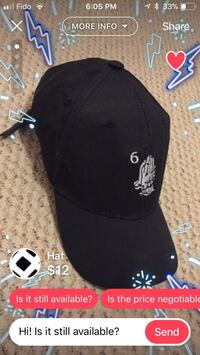 black and white fitted cap Vancouver, V5P 2Z3