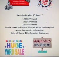 Multi - Family Community Yard Sale in Rosedale Baltimore 21237 ROSEDALE