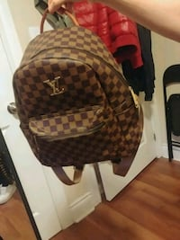brown and black checked leather backpack Hamilton, L8R 1G9