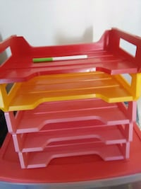 red and white plastic rack