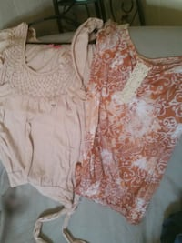 white and brown floral scoop neck shirt Cozad, 69130