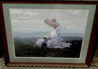 woman wearing white and pink dress and sun hat painting Corbin, 40701