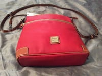 red and black leather crossbody bag Macon