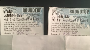 Two Lift Ticket Vouchers for Roundtop Mountain