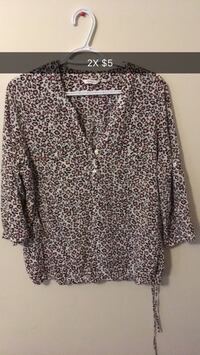 brown and black size-2X leopard-pattern blouse London, N6E 3R3