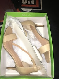 pair of brown leather open-toe heeled sandals 2346 mi