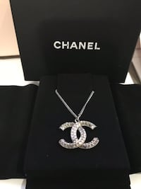 Authentic Chanel Crystal CC Logo Silver Necklace Puslinch, N1H