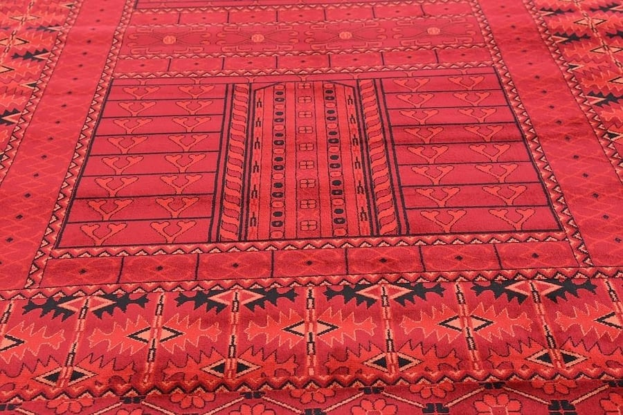 new Bokhara design area rug size 8x11 nice red carpet Persian style 13443f28-874f-4abe-b7c8-89769d3b17fa