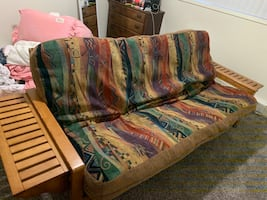 Futon with side tables / matching pillows